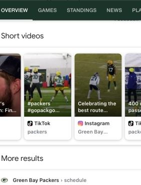 Example of short-form video showing up in Search results.